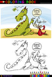Draak en Ridder voor het kleuren Stock Foto's