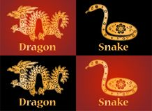 Draak en slang Symbolen van de Chinese horoscoop 2024 en 2025 jaar royalty-vrije illustratie