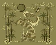 Draak met bamboe Stock Afbeelding
