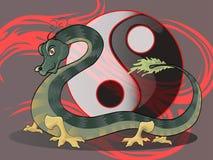 Draak met yin yang pictogram Stock Fotografie