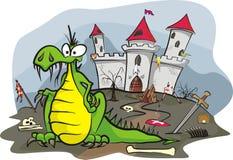 Draak onder het kasteel royalty-vrije illustratie