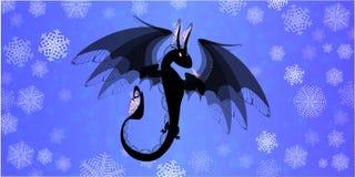 draak op blauwe achtergrond stock illustratie