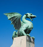 Draak op Dragon Bridge, Ljubljana, Slovenië Stock Afbeelding