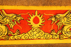 Draak op tempelmuur Wat Khao ISan (Thepprathan) Stock Fotografie
