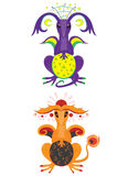 Draak van de maan en draak van de zon Royalty-vrije Stock Foto's