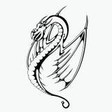 Draak vectorillustratie voor tatoegeringsontwerp royalty-vrije illustratie