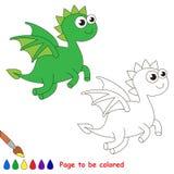Draakbeeldverhaal Te kleuren pagina Stock Foto