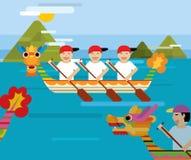 Draakboot achter de bergen in vlakke ontwerpstijl Stock Afbeelding