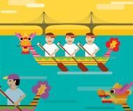 Draakboot achter de brug in vlakke ontwerpstijl Royalty-vrije Stock Foto