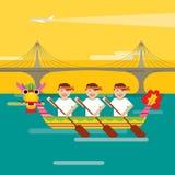 Draakboot op het overzees in vlakke ontwerpstijl Royalty-vrije Stock Foto