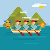 Draakboot op het overzees in vlakke ontwerpstijl Stock Foto