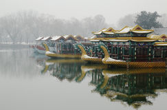 Draakboot in sneeuw Royalty-vrije Stock Foto's