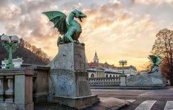 Draakbrug in Ljubljana Royalty-vrije Stock Foto's