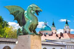 Draakbrug, Ljubljana, Slovenië, Europa Royalty-vrije Stock Fotografie