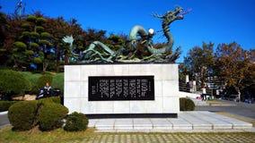 Draakstandbeeld bij Busan-Toren in Korea royalty-vrije stock afbeelding