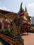 Draakstandbeeld in een Thaise tempel die in penang Maleisië wordt gevestigd Royalty-vrije Stock Foto's