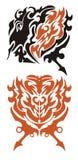 Draaksymbool en rood hart met pijlen Royalty-vrije Stock Afbeeldingen