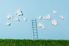 Drabinowa pozycja na zielonej trawie i niebieskim niebie z chmurami Obraz Stock