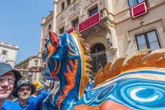 Drac figure at Festa Major in Sitges, Spain Stock Images