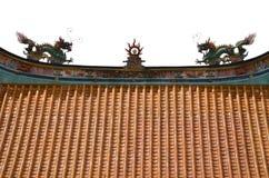 Drache auf die Oberseite des chinesischen Tempels Lizenzfreie Stockfotografie