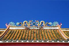 Drache-chinesisches Tempel-Dach Lizenzfreies Stockfoto