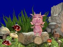 Drache in der Wiese mit Pilzen Lizenzfreies Stockfoto
