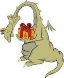 Drache mit einem Geschenk. Karikatur Stockfotografie
