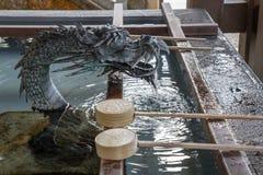 Drache mit Teich und Wasser stockbild