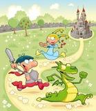 Drache, Prinz und Prinzessin mit Hintergrund Stockfotos
