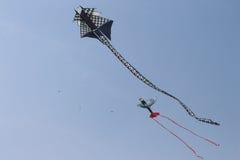 Drache-und Flugzeug-Drachen Stockbild