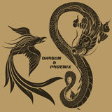 Drache und Phoenix Lizenzfreie Stockfotografie