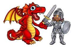 Drache und Ritter Cartoon Characters Lizenzfreies Stockfoto