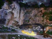 Drachedunkelheitshöhle Digital-Illustrationskunst Lizenzfreie Stockfotografie