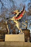 Drachegrenzsteinstatue in London Stockbild
