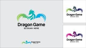 Drachelogo-Designschablone, Vektorillustration, Spiel-Logo lizenzfreie stockfotografie