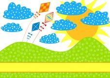 Drachen auf einer Hügel-Einladungs-Karte Lizenzfreies Stockbild
