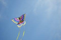 Drachen, der durch den Himmel einen Bogen bildet Stockbilder