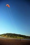 Drachen, der nahe Fluss fliegt Stockfotografie