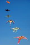 Drachen-Drachen, die klaren blauen Himmel fliegen Lizenzfreie Stockfotografie
