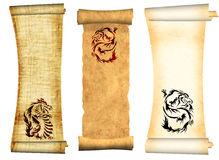 Drachen. Rollen der alten Pergamente Lizenzfreies Stockbild