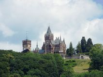 Drachenburg Castle, Mansion on the Drachenfels. Built in the end of 19th century castle-like mansion in the style of historicism halfway to the Drachenfels stock images