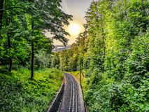 Drachenfels Railway Germany amidst trees against cityscape royalty free stock photo