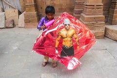 Drachenfestival Uttrayan/Makar-sankranti Gujarat, Indien Lizenzfreie Stockfotos