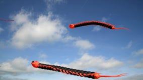 Drachenfliegen-Gleiskettenfahrzeugfliegen gegen den Himmel stock footage