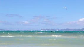 Drachensurfer im Meer stock video