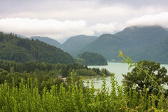 Drachenwand mountain and Mondsee lake (Moon Lake) in the Upper A Stock Images