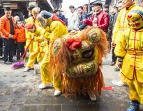 Drachetanzfestival in der alten Stadt, Chengdu, Porzellan Stockbild