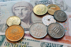 Drachma coins of greece Royalty Free Stock Photo