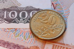 Drachma coins of greece Royalty Free Stock Photos