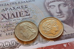 Drachma coins of greece Royalty Free Stock Photography